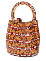 Marni Pannier Snake Print Leather Shoulder Bag Multicolor