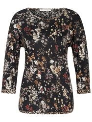Oui Printed Jersey Top With Lace Back Detail Multi