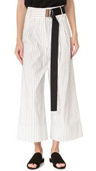 Tibi Cecil Striped Cropped Pants Ivory Multi