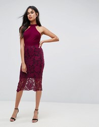 Ax Paris Racer Neck Midi Dress With Crochet Lace Skirt And Contrast Lining Plum Purple