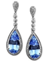 Arabella Sterling Silver Earrings Blue And White Swarovski Zirconia Earrings 10 7 8 Ct. T.W.