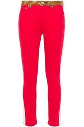 Burberry Woman Leather Trimmed Mid Rise Skinny Jeans Red