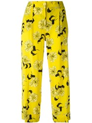 P.A.R.O.S.H. Cropped Floral Print Trousers Yellow Orange