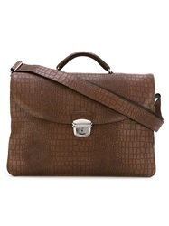 Orciani Crocodile Texture Briefcase Brown