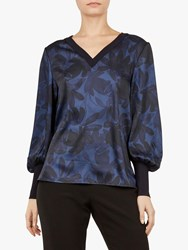 Ted Baker Taliyer V Neck Long Sleeve Top Blue Navy