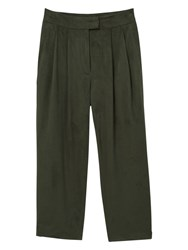 Mango Textured Cropped Trousers Green
