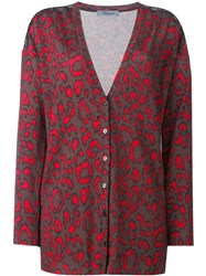 Blumarine Neon Animal Print Cardigan Brown