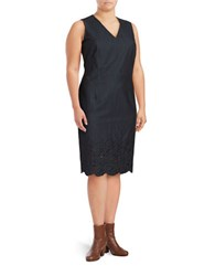 Calvin Klein Plus Denim Floral Lace Hem Dress Blue