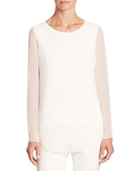 Akris Punto Long Sleeve Overlay Blouse