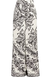 Etro Printed Crepe Wide Leg Pants White