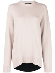 Derek Lam Oversized Contrast Back Cashmere Sweater Brown