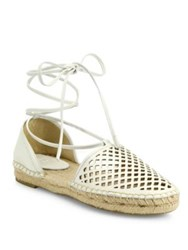 Frye Leo Perforated Leather Lace Up D'orsay Espadrille Flats White