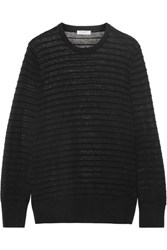 Equipment Rei Ribbed Cotton And Silk Blend Sweater Black