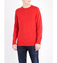 Tommy Hilfiger Pima Cotton And Cashmere Blend Jumper Apple Red Heather