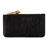 Alexander Mcqueen Black Croc Zip Card Holder