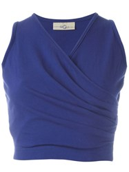 Romeo Gigli Vintage Wrap Crop Top Blue