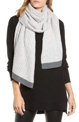 Halogen Cable Knit Cashmere Scarf Grey Combo
