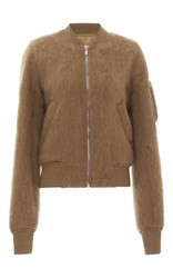 Rick Owens Brushed Mohair Bomber Jacket Tan