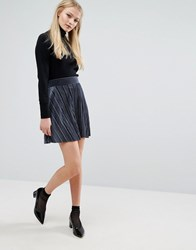 Vila Velvet Pleated Mini Skirt Navy