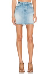7 For All Mankind A Line Mini Skirt Aura Blue Heritage