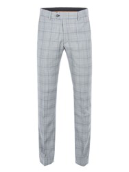 Gibson Men's Grey Trousers With Purple Over Check Grey