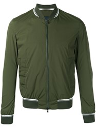 Herno Striped Detail Bomber Jacket Green