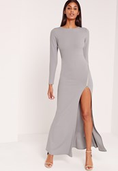 Missguided Zip Thigh Fishtail Maxi Dress Grey