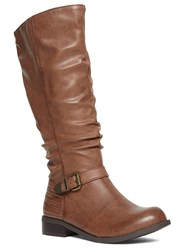 Evans Extra Wide Fit Tan Ribbed Buckle Long Boot Brown