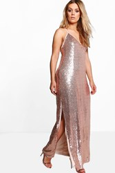 Boohoo Amy Side Split Sequin Maxi Dress Gold
