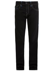 True Religion Contrast Stitch Mid Rise Straight Leg Jeans Black