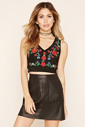 Forever 21 Floral Embroidered Crop Top