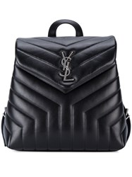 Saint Laurent Small Monogram Leather Backpack Women Leather One Size Black