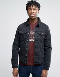 Pull And Bear Pullandbear Denim Jacket With Borg Collar In Black Black