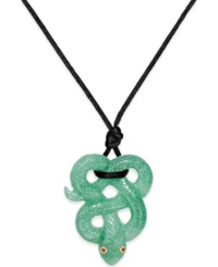 No Vendor Ruby Accent Jade Snake Pendant Necklace In Silk And 14K Gold
