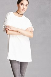 Forever 21 Lace Up Longline Tee