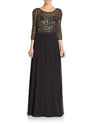 Kay Unger Sequined Three Quarter Sleeve Gown Black Gold