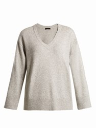 The Row Cappi Cashmere And Silk Blend Sweater Light Grey