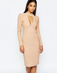 Rare London Plunge High Neck Body Conscious Dress Nude