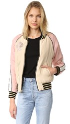 Cynthia Rowley Reversible Bomber Jacket Black Blush