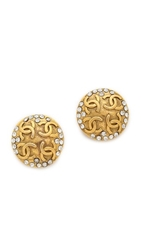 Wgaca Vintage Chanel Cc Stone Earrings Gold