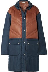 By Malene Birger Dorav Quilted Shell Paneled Canvas Down Coat Navy