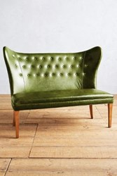 Anthropologie Premium Leather Wingback Bench Armless Evergreen