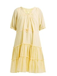 Loup Charmant Kassos Tiered Organic Cotton Gauze Dress Yellow