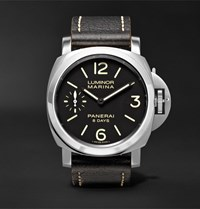 Officine Panerai Luminor Marina 8 Days 44Mm Stainless Steel And Leather Watch Black
