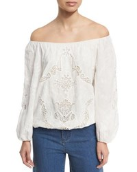 Alice Olivia Alta Embroidered Cotton Peasant Top White