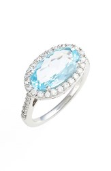 Women's Lafonn 'Aria' Oval Cut Ring Platinum Blue Topaz
