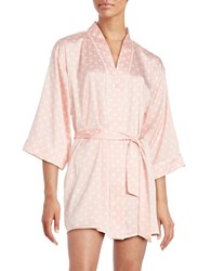 Kate Spade Dotted Charmeuse Short Robe Pink