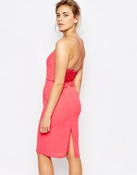 Elise Ryan Cami Strap Midi Dress With Dipped Lace Back Coral Pink