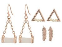 Guess Mini Feather Triangle And Drop Trio Set Earrings Rose Gold Off White Earring