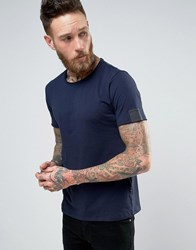 Replay Raw Edge Scoop Neck T Shirt Ink Blue Navy